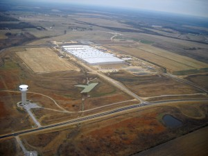 The south view of the construction of Yokohama Tire Manufacturing Mississippi facility. Site work for Phases 1-4 of this project are show; Phase 1 is currently under construction. Photo: Golden Triangle Development LINK.