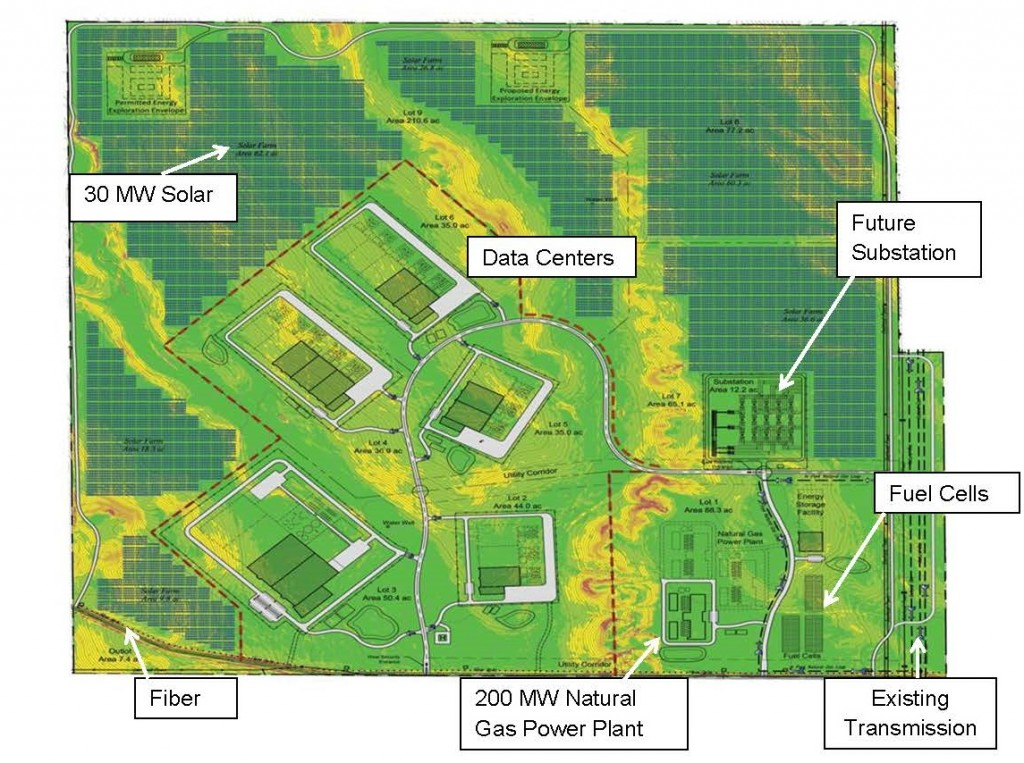 This option at the Niobrara development combines the microgrid natural gas plant, fuel cells, solar and energy storage for both energy use within the project, such as cloud data centers or energy intensive manufacturing, as well as export of energy to the national grid. Image: Niobrara Energy Development