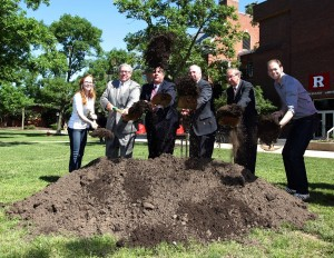 Last June, officials including Gov. Chris Christie (third from left), turned ground at the site of Rutgers University's new chemistry and chemical biology building at the Busch Campus in Piscataway. Photo: Tim Larsen/Governor's Office