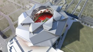 The design for the New Atlanta Stadium features a retractable roof that provides a radical departure from the kinetic roofs of other sports facilities.  Image courtesy of HOK