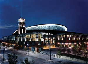 As the centerpiece of the country's first fully integrated mixed-use sports and entertainment district, the 18,500-seat Nationwide Arena in Columbus, Ohio, is an innovative venue that provides a great game-day experience for fans. Photo: Courtesy of HOK © Timothy Hursley