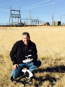 Craig Harrison conducts drone reconnaissance at the substation and fiber vault located near the Niobrara Energy Development in Weld County, Colorado. Photo: Craig Harrison