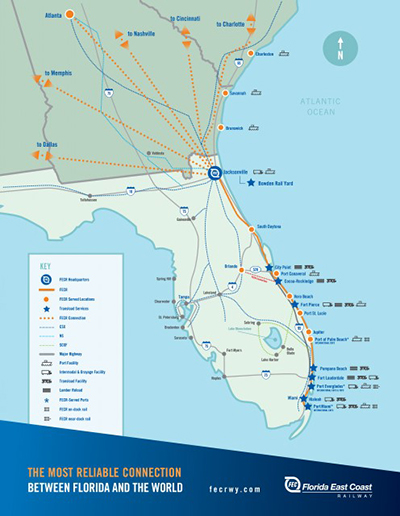 Florida East Coast Railway Connecting Florida To The World - Map of the east coast of florida