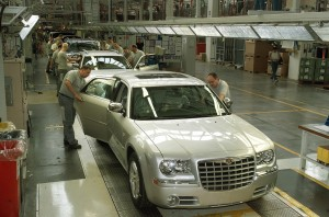 Team members at FCA Canada's Brampton facility put the finishing touches on the Chrysler 300.  Photo: Courtesy of City of Brampton Economic Development Office