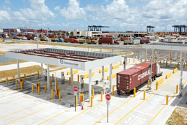 The FECR's Intermodal Container Transfer Facility (ICTF) international gate complex. The 43-acre state-of-the-art intermodal facility is located adjacent to Port Everglades, Fort Lauderdale. Photo: Florida East Coast Railway
