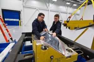 The Albany-Safran partnership produces 3-D woven RTM composites aircraft engine parts. Photo: NHED