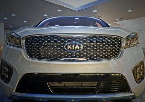 A Kia vehicle in the showroom at the West Point facility. Photo by Robert Payne