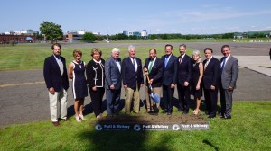 Recently, Nathan G. Patch, grandson of Pratt & Whitney founder Frederick Rentschler, center, joined company leaders and state and local government officials in East Hartford to reenact the company's ceremonial 1929 groundbreaking. P&W is building a new global headquarters. Photo: 2015 United Technologies Corp., Reproduced with Permission – All Rights Reserved