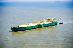 Aerial view of LNG boat in Cameron Parish in southwest Louisiana. Photo: Lindsey Janies Photography