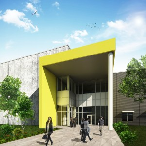Artists' rendering of the Florida Advanced Manufacturing Research Center, a state-of-the-art advanced manufacturing research facility under construction in Osceola County.  The center is focused on the next generation of universal smart sensors. Image: Osceola County