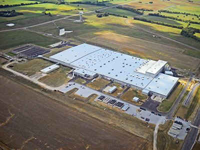 Aerial view of the first phase of Yokohama Tire Manufacturing Mississippi, which was completed in Q4 2015. Photo: Golden Triangle Development LINK