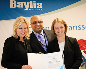 Baylis Medical's Expansion and new second facility Opening in Mississauga. From Left: Mayor Bonnie Crombie, Mississauga, Kris Shah Presidents of Baylis Medical and Laura Conquergood, Director of Operations at Baylis Medical. Photo by Baylis Medical